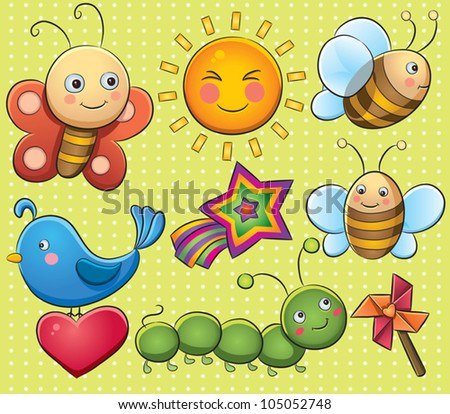 Summer Bugs - stock vector