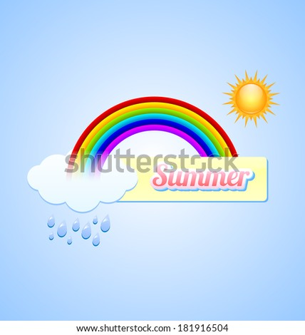 Summer button with rainbow, sun, cloud and rain drops - stock vector