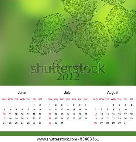 Summer calendar page of new 2012 year  with background an text  (vector eps 10) - stock vector