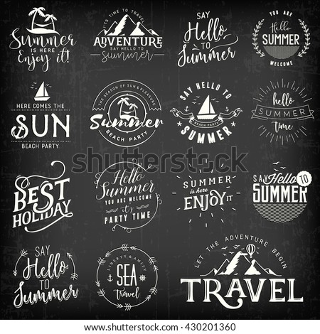 Summer Calligraphic Design Set. White Beach and Mountains Illustrations on Black Background - stock vector