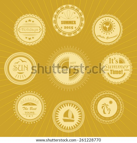 Summer calligraphic designs.  Collection of summer stamps. Vector set of summer labels       - stock vector