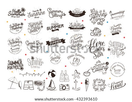 Summer Calligraphic Designs Set / Labels and Badges / Hand Drawn Elements for  Holidays  - stock vector