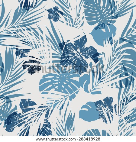 Summer camouflage hawaiian seamless pattern with tropical plants and hibiscus flowers, vector illustration - stock vector