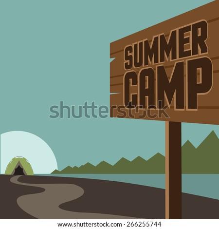 Summer camp background. EPS 10 vector royalty free stock illustration for ad, promotion, poster, flier, blog, article, social media, marketing - stock vector