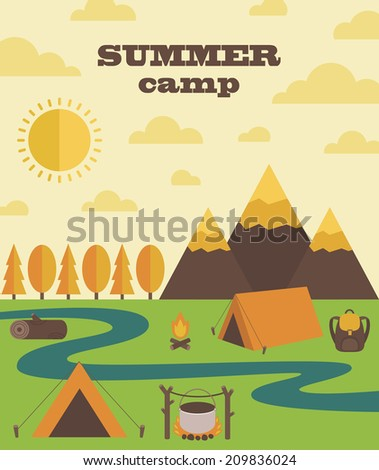 summer camp card design. vector illustration - stock vector