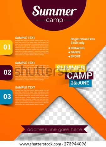 Summer Camp Flyer Poster Magazine Cover Stock Vector