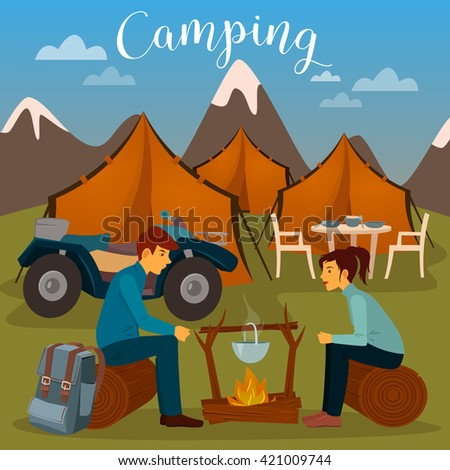 Summer Camp. Man and Woman sitting by Fireplace. Camping and ATV. Outdoor Vacation. Active People. Vector illustration - stock vector