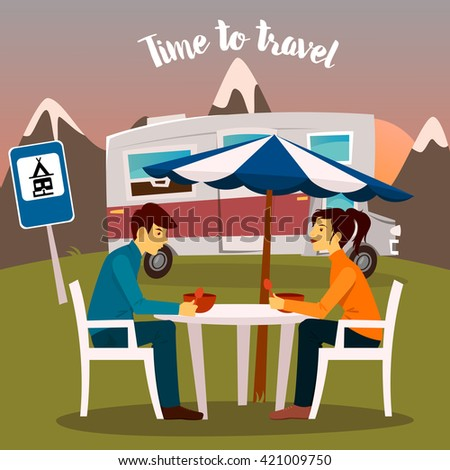 Summer Camp. Man and Woman Sitting Near the Camper. Active People. Outdoor Vacation. Time to Travel. Vector illustration