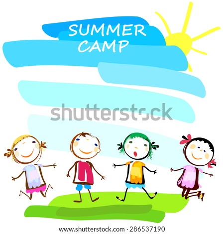summer camp poster with happy kids - stock vector