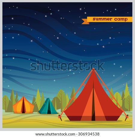 Summer camp - red tourist tent on a night starry sky. Nature vector illustration. - stock vector