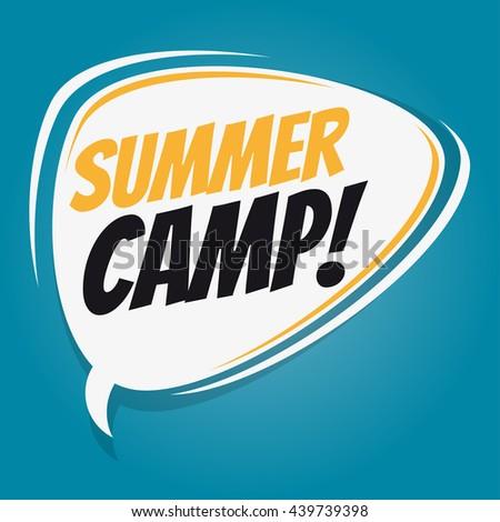 summer camp retro speech bubble - stock vector