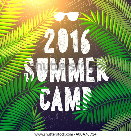 Summer camp 2016, themed camp and vacation poster, vector illustration. - stock vector