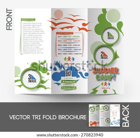 Summer Camp Tri-Fold Brochure Design - stock vector