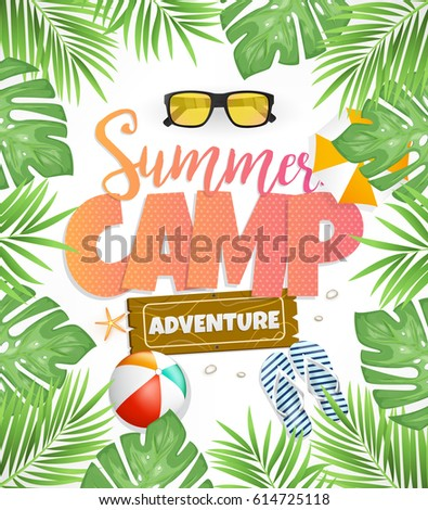 Summer Beach Card Poster Design Vector Stock Vector