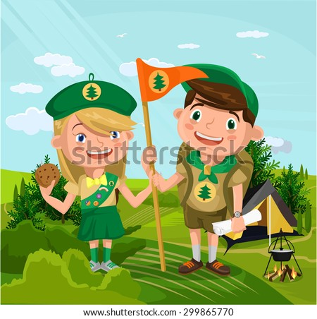 Summer camp with boy and girl. Vector flat cartoon illustration - stock vector