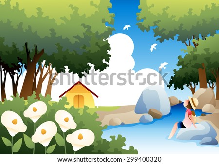 Summer Camping and Relaxing Vacation - lovely young girl dipping feet in the cold water and enjoy fun in the wooded valley on background of bright blue sky and beautiful park : vector illustration - stock vector