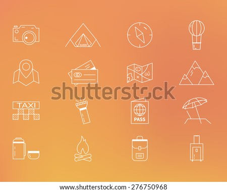 Summer camping and travel outline icons set. Outdoor activity theme. Thin line design. Isolated on orange background. Vector illustration - stock vector