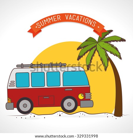 Summer camping and travel theme design, vector illustration.