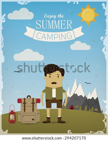 Summer camping poster with tourist - stock vector