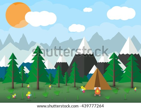 Summer Campsite with a campfire, Forest, Mountains, Sky, clouds, sun. travel and vacation concept.  vector illustration in flat design - stock vector