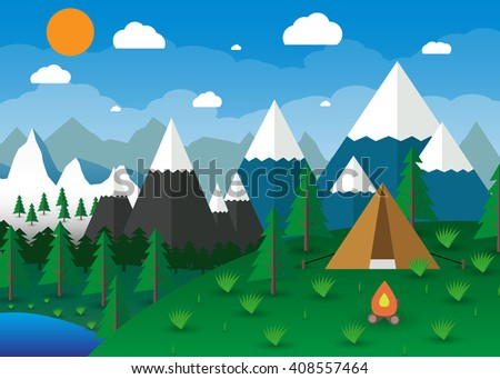 Summer Campsite with a campfire, Lake, Forest, Mountains, Sky, clouds, sun. travel and vacation concept. vector illustration in flat design - stock vector