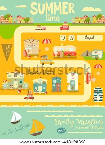 Summer Card. Beach Huts, Caravans, Cars on Summer Poster. Seafront. Camping. Vector Illustration. - stock vector