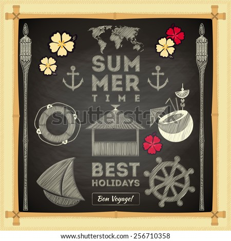 Summer Card on Chalkboard. Sea Hawaii Theme. Vector Illustration. - stock vector