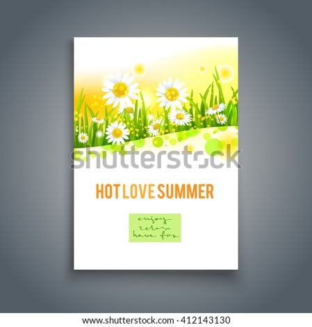 Summer card template. Nature background for design banner, invitation, ticket, leaflet, card, poster and so on. Place for text. - stock vector