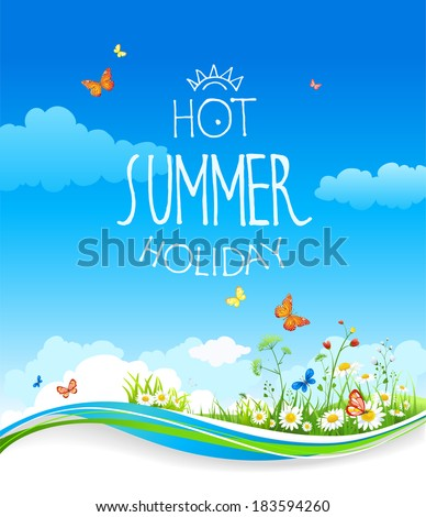 Summer card with blue sky and flowers. Vector background with place for text. - stock vector