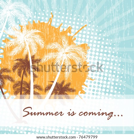 Summer card with grunge dots and palms - stock vector