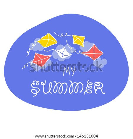 Summer card with kite and sky in vector.  - stock vector