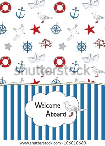 Summer card with nautical elements - stock vector