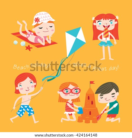 Summer child's outdoor activities. Beach holiday. Happy childhood. Vector set on a yellow background. Boys and girls take a tan, eat ice-cream, make sandcastle and fly a kite. - stock vector