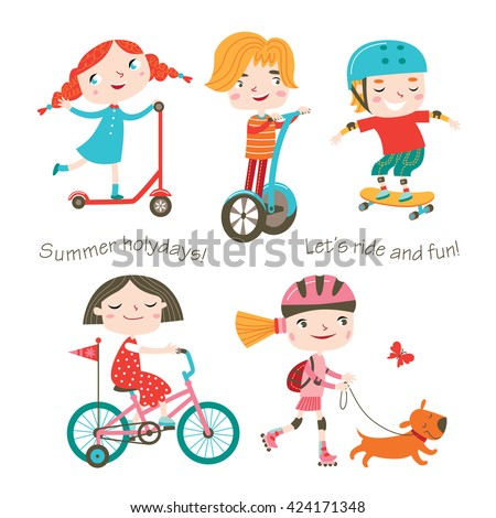 Summer child's outdoor activities. Happy childhood. Vector set on a white background. Boys and girls skating, rinking and ride kick scooter and bike.