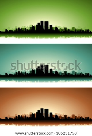 Summer Cityscape Banner Set/ Illustration of a collection of city skyscrapers on the summer sunset or sunrise with  green, blue and brown versions - stock vector
