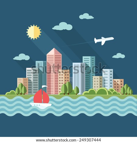 summer cityscape illustration .big city, a metropolis street and trees and yacht background. Flat style vector illustration. - stock vector