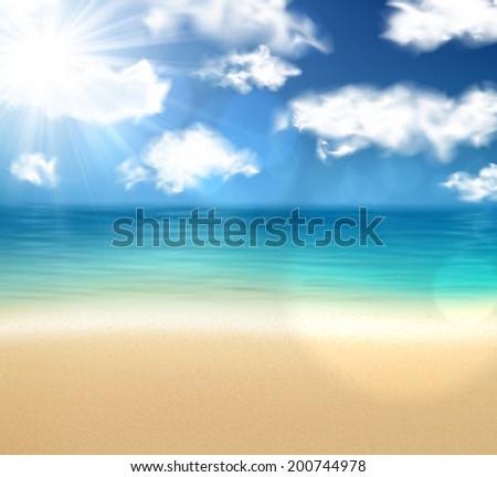 Summer coast with sea and sky. Tropical background. Vector illustration.