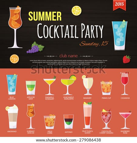 Summer cocktail party invitation and set of alcohol cocktails icons. Flat style design. Vector illustration.