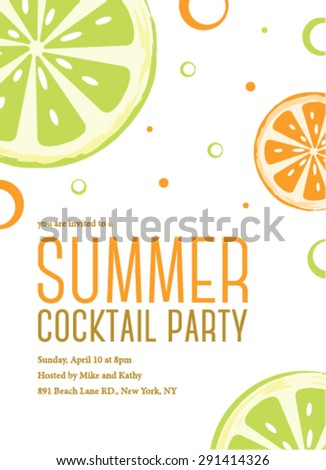Summer Cocktail Party Invitation Template Stock Vector - Cocktail party invitation template