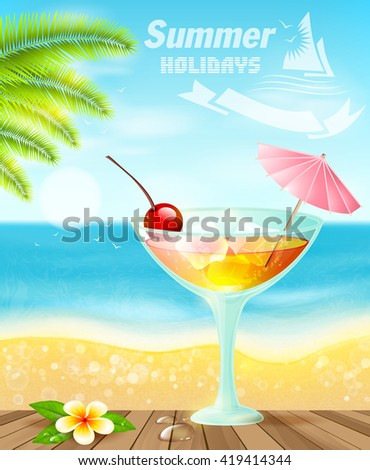 Summer cocktails on sea beach.Summer holiday vacation travel background.
