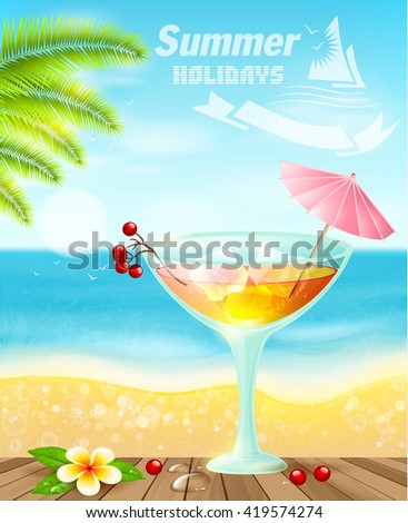 Summer cocktails on sea beach.Summer holiday vacation travel background. - stock vector