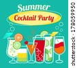 Summer cocktails party banner invitation flyer card template vector illustration - stock vector
