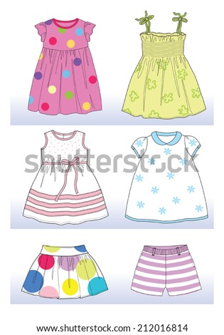 summer collection for little girl - stock vector