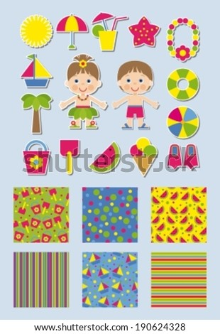 summer collection of backgrounds and stickers for scrapbook - stock vector