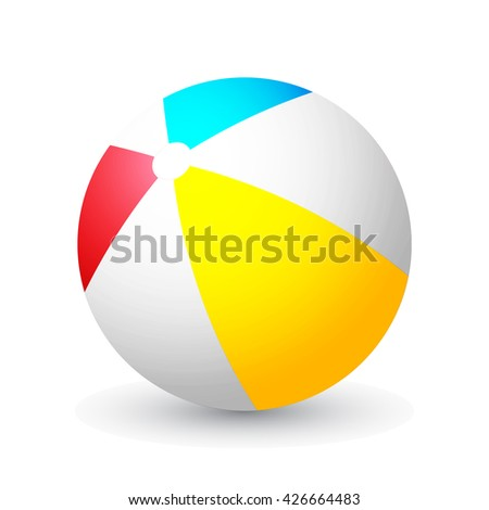 Summer colored rubber inflatable beach ball isolated on white background with shadow. Vector illustration. Eps10.