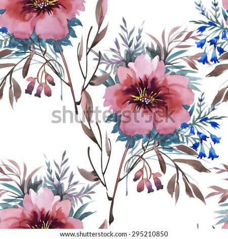 Summer Colorful floral garden watercolor Seamless pattern on white background vector illustration - stock vector