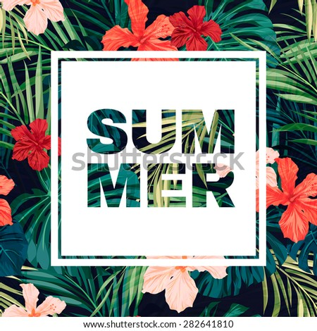 Summer colorful hawaiian flyer design with tropical plants and hibiscus flowers, vector illustration - stock vector