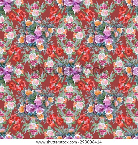 Summer Colorful Hippeastrum and roses floral watercolor Seamless pattern on red background vector illustration