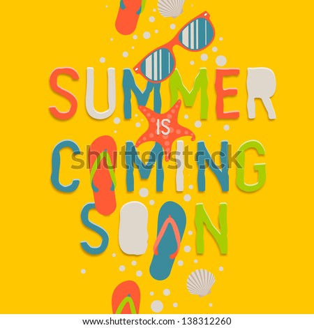 Summer coming soon, creative graphic background, vector illustration.