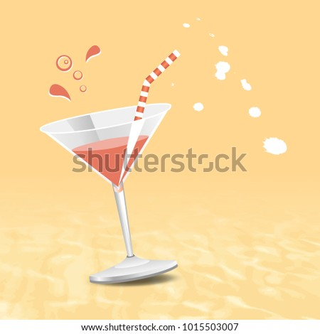 Summer concept - beach background with cocktail - vacation theme